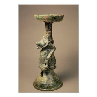 Early Chinese pottery lamp, tomb artefact Poster