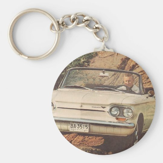 Early Corvair Convertible Basic Round Button Key Ring