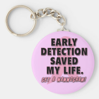 Early Detection Saves Lives Breast Cancer Design Basic Round Button Key Ring