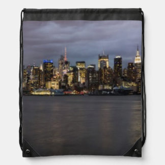 Early evening panoramic view of Manhattan Drawstring Bag