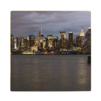 Early evening panoramic view of Manhattan Maple Wood Coaster