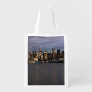 Early evening panoramic view of Manhattan Reusable Grocery Bag