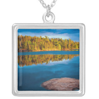 Early Evening reflections in the boundry waters Silver Plated Necklace