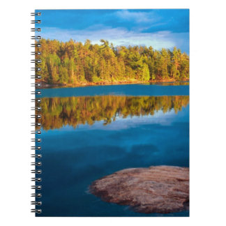 Early Evening reflections in the boundry waters Spiral Notebook