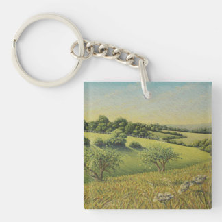 Early Evening Sun, Epsom Downs Acrylic Key Ring