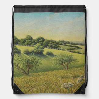 Early Evening Sun, Epsom Downs Drawstring Bag