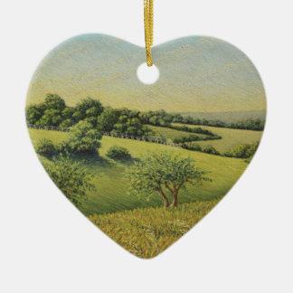 Early Evening Sun, Epsom Downs, Surrey Pastel Ceramic Heart Decoration