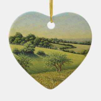 Early Evening Sun, Epsom Downs, Surrey Pastel Christmas Ornament