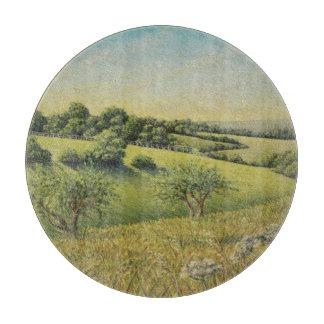 Early Evening Sun, Epsom Downs, Surrey Pastel Cutting Board