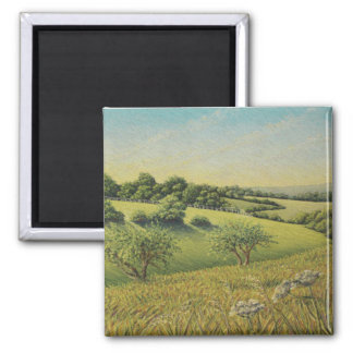 Early Evening Sun, Epsom Downs, Surrey Pastel Square Magnet