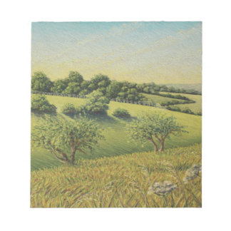 Early Evening Sun, Epsom Downs, Surrey Pastel Notepad