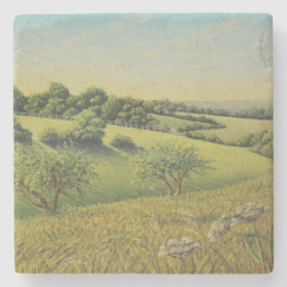 Early Evening Sun, Epsom Downs, Surrey Pastel Stone Coaster