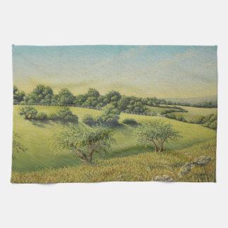 Early Evening Sun, Epsom Downs, Surrey Pastel Tea Towel