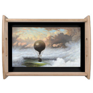 Early Hot Air Balloon Storm Sky Serving Tray