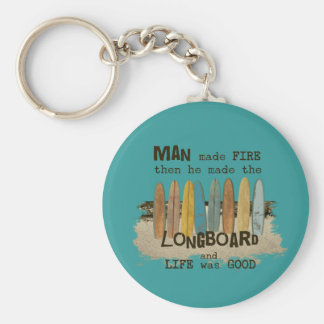 Early Man Surfing Humor with Longboards Basic Round Button Key Ring