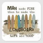 Early Man Surfing Humour with Longboards Square Sticker
