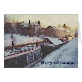 Early morning Christmas narrowboats Card