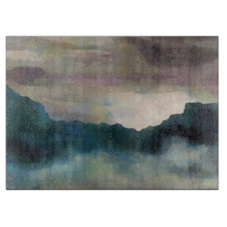 Early Morning Clouds Consume the Mountains Cutting Board