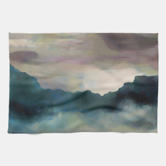 Early Morning Clouds Consume the Mountains Kitchen Towel