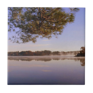 Early Morning Lakeside Small Square Tile