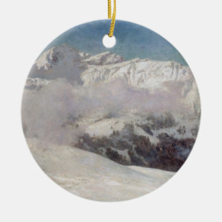 Early Morning Mist in the Mountains, Shilthorn (oi Christmas Ornament