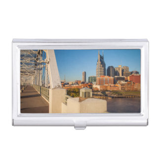 Early Morning On The Shelby Street Bridge Business Card Holder