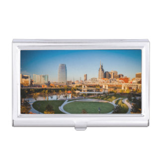 Early Morning Over Nashville, Tennessee, USA 2 Business Card Holder