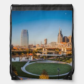 Early Morning Over Nashville, Tennessee, USA 2 Drawstring Bag