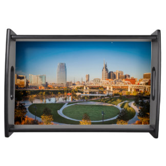 Early Morning Over Nashville, Tennessee, USA 2 Serving Tray