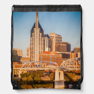 Early Morning Over Nashville, Tennessee, USA 3 Drawstring Bag