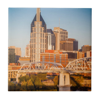 Early Morning Over Nashville, Tennessee, USA 3 Small Square Tile