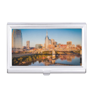 Early Morning Over Nashville, Tennessee, USA Business Card Holder