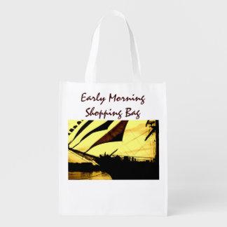 Early Morning Shopping Reusable Bag Market Tote