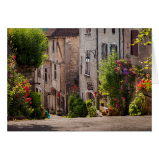 Early morning view down street greeting card