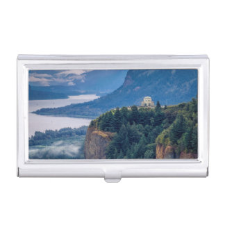 Early Morning View Of Vista House At Crown Point Business Card Holder