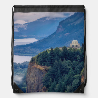 Early Morning View Of Vista House At Crown Point Drawstring Bag
