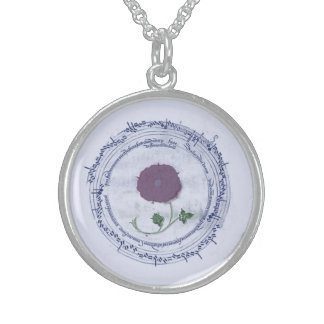 Early Music Manuscript Flower Sterling Silver Necklace