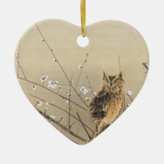 Early Plum Blossoms by Nishimura Goun, Vintage Owl Christmas Ornament