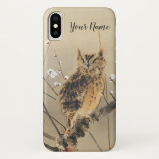 Early Plum Blossoms by Nishimura Goun, Vintage Owl iPhone X Case