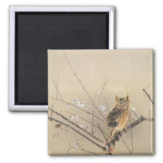 Early Plum Blossoms by Nishimura Goun, Vintage Owl Magnet