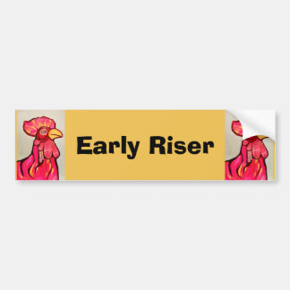 Early Riser Rooster Bumper Sticker