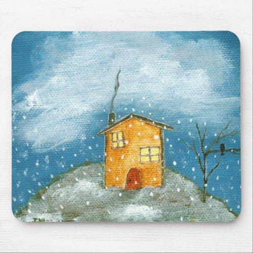 Early Snow Storm Folk Art Original Painting Mouse Pad