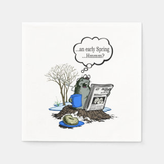 Early Spring Groundhog Day Party Paper Napkins