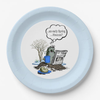 Early Spring Groundhog Day Party Paper Plate 9 Inch Paper Plate