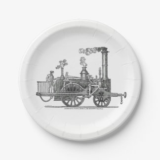 Early Steam Locomotive 7 Inch Paper Plate