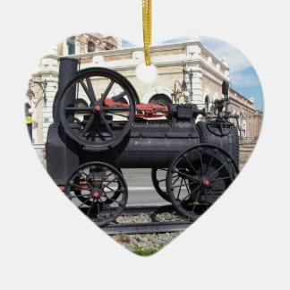 Early Steam Locomotive in Cartagena. Ceramic Heart Decoration