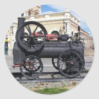 Early Steam Locomotive in Cartagena. Classic Round Sticker