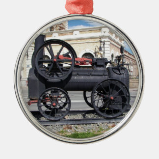 Early Steam Locomotive in Cartagena. Silver-Colored Round Decoration