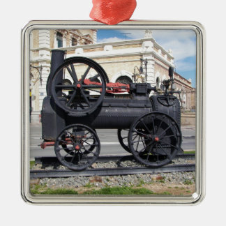 Early Steam Locomotive in Cartagena. Silver-Colored Square Decoration
