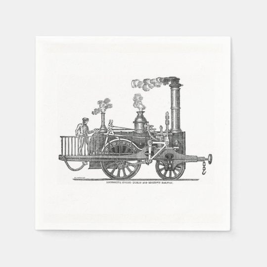 Early Steam Locomotive Paper Napkins